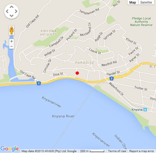 Map Lagoon Breeze in Knysna  Garden Route  Western Cape  South Africa