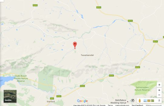 Map Lekkerdroom Farm in Caledon  Overberg  Western Cape  South Africa