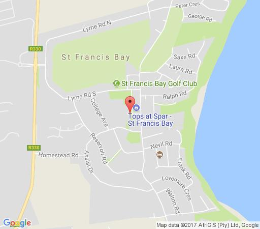 Map St Francis Bay Backpackers in St Francis Bay  Cacadu (Sarah Baartman)  Eastern Cape  South Africa