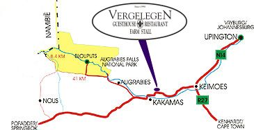 Map Vergelegen Guesthouse & Restaurant in Kakamas  Green Kalahari  Northern Cape  South Africa