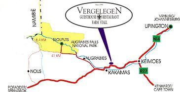 Map Vergelegen Guesthouse & Restaurant in Kakamas  Green Kalahari  Northern Cape  South Africa