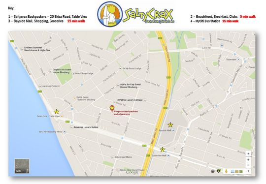 Map SaltyCrax Backpackers in Bloubergstrand  Blaauwberg  Cape Town  Western Cape  South Africa