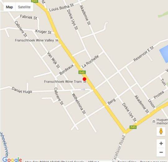 Map Franschhoek Boutique Hotel in Franschhoek  Cape Winelands  Western Cape  South Africa