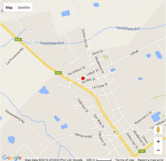 Map De Ville Lodge in Franschhoek  Cape Winelands  Western Cape  South Africa