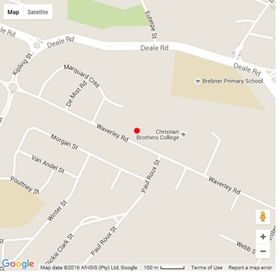 Map Cottonwood Guesthouse in Bloemfontein  Mangaung  Free State  Afrique du Sud