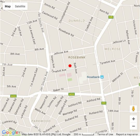 Map 1 The Apartment in Rosebank (JHB)  Northcliff/Rosebank  Johannesburg  Gauteng  South Africa