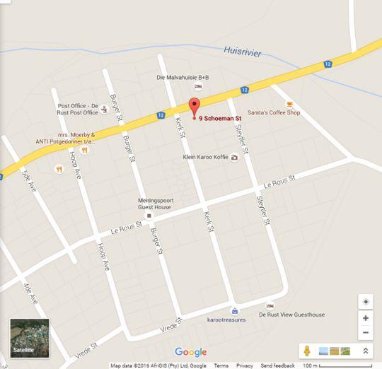 Map Olivier\'s Rust in De Rust  Klein Karoo  Western Cape  South Africa