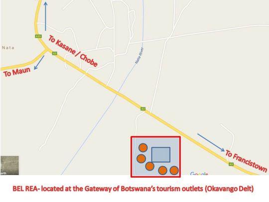 Map Bel Rea in Nata  Botswana