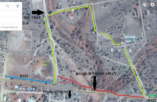Map Return Africa Pafuri Camp in Pafuri/Makuleke  Northern Kruger Park  Kruger National Park (LIM)  Limpopo  South Africa
