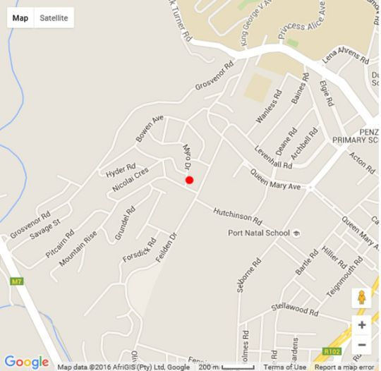 Map Olive Room Bed and Breakfast in Glenmore  Durban  Durban and Surrounds  KwaZulu Natal  South Africa