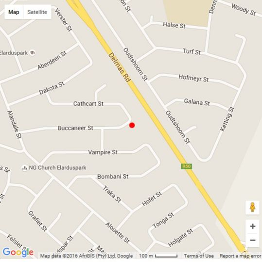 Map Rest-A-While Guest House in Elardus Park  Pretoria East  Pretoria / Tshwane  Gauteng  South Africa