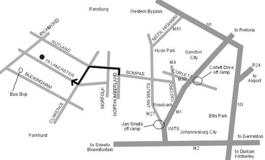 Map Liz at Lancaster Guesthouse in Craighall Park  Northcliff/Rosebank  Johannesburg  Gauteng  South Africa
