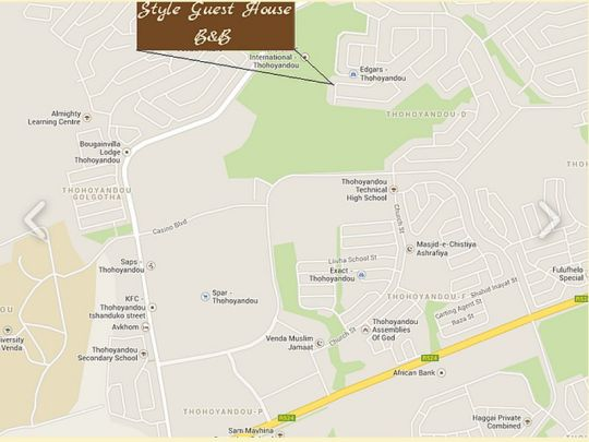 Map Style Guest House in Thohoyandou  Soutpansberg  Limpopo  South Africa