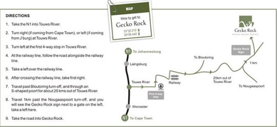 Map Gecko Rock Private Nature Reserve in Touws River  Breede River Valley  Western Cape  South Africa