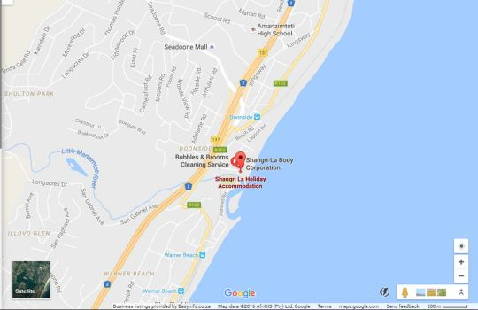 Map Shangri LA  Holiday Apartment 208 & 803 in South Beach  Durban  Durban and Surrounds  KwaZulu Natal  South Africa