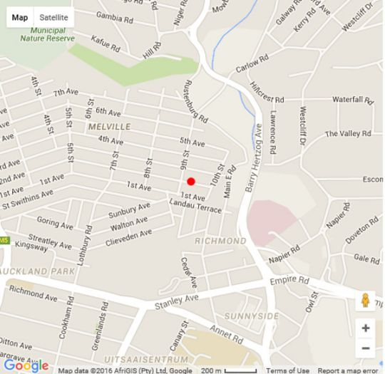 Map The Purple View in Melville (JHB)  Northcliff/Rosebank  Johannesburg  Gauteng  South Africa
