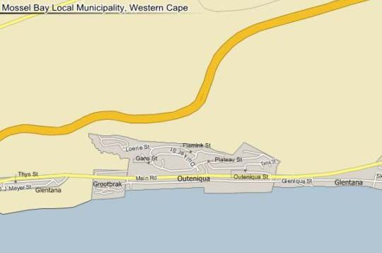 Map 34 Loerie Crescent in Mossel Bay  Garden Route  Western Cape  South Africa