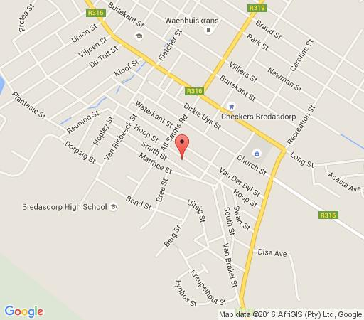 Map Bloekomhuisie in Bredasdorp  Overberg  Western Cape  South Africa