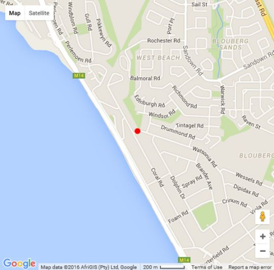Map @ Rosies in Bloubergstrand  Blaauwberg  Cape Town  Western Cape  South Africa