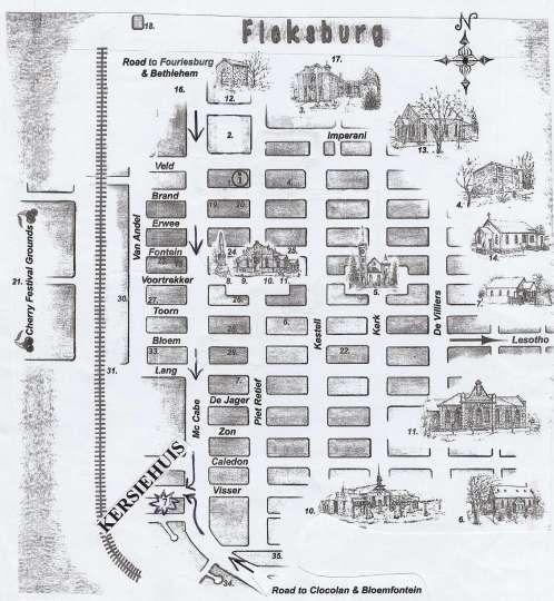 Map Die Kersiehuis in Ficksburg  Thabo Mofutsanyana  Free State  Südafrika