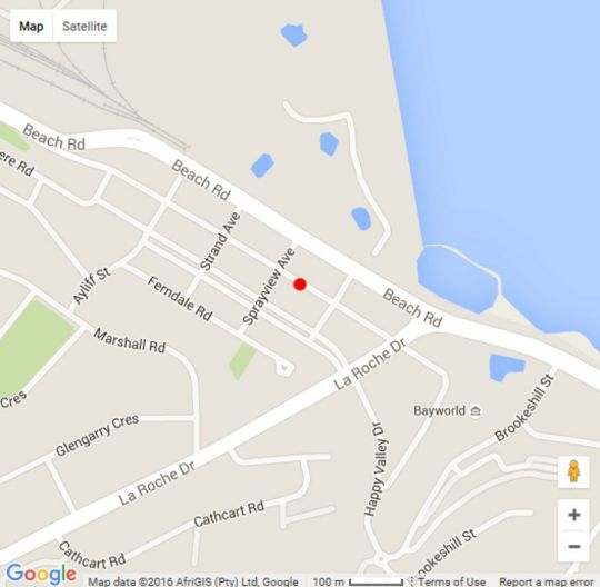 Map FewSteps Beachfront Accommodation in Humewood  Port Elizabeth  Cacadu (Sarah Baartman)  Eastern Cape  South Africa