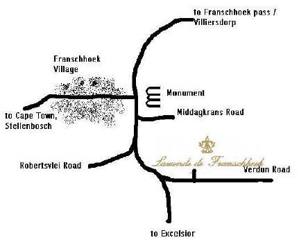 Map Lavande de Franschhoek in Franschhoek  Cape Winelands  Western Cape  South Africa