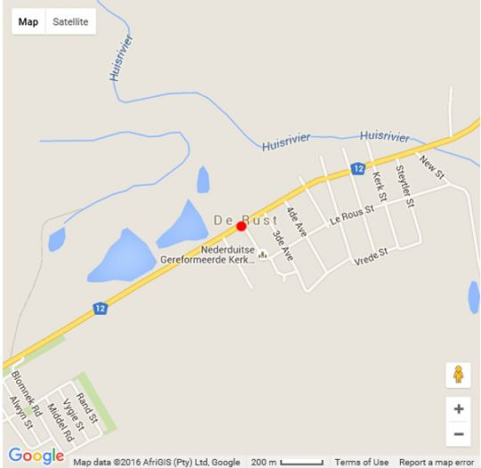 Map De Rust Boutique Backpackers in De Rust  Klein Karoo  Western Cape  South Africa