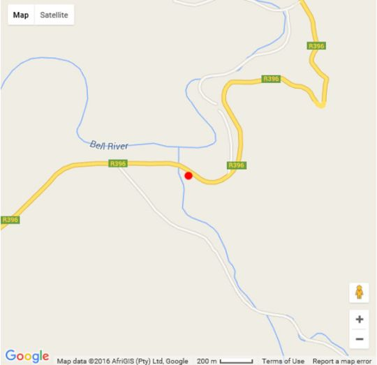 Map Amanzi Empilo Bungalow in Rhodes  Drakensberg (EC)  Eastern Cape  South Africa