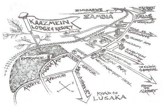 Map Kaazmein Lodge & Resort in Livingstone CBD  Livingstone  Zambia