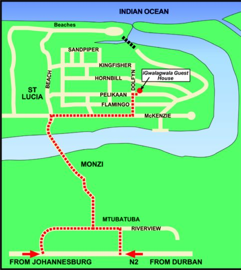 Map Igwalagwala Guest House in St Lucia  Zululand  KwaZulu Natal  South Africa