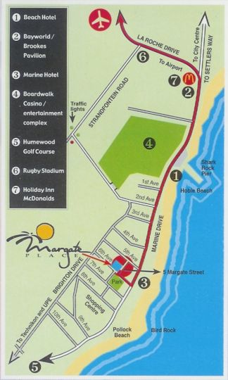 Map Margate Place Guest House in Summerstrand  Port Elizabeth  Cacadu (Sarah Baartman)  Eastern Cape  South Africa