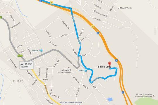 Map isiKhoma-khoma in Hilton  Pietermaritzburg  Midlands  KwaZulu Natal  South Africa