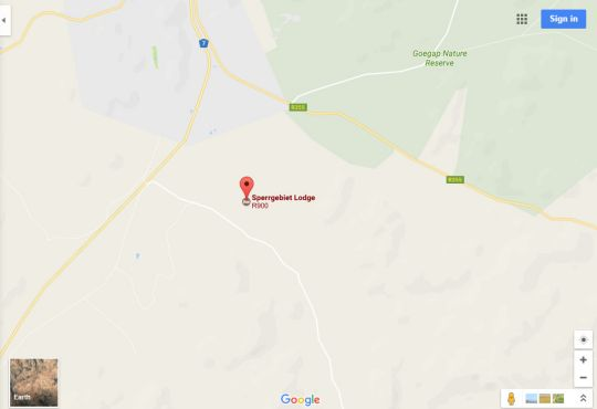 Map Sperrgebiet Lodge in Springbok  Namakwaland  Northern Cape  South Africa