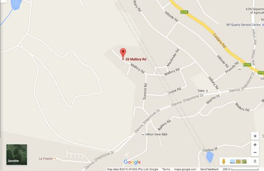 Map The Hilton Bed & Breakfast in Hilton  Pietermaritzburg  Midlands  KwaZulu Natal  South Africa