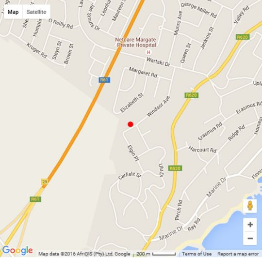 Map Mangie Villa in Margate  South Coast (KZN)  KwaZulu Natal  South Africa