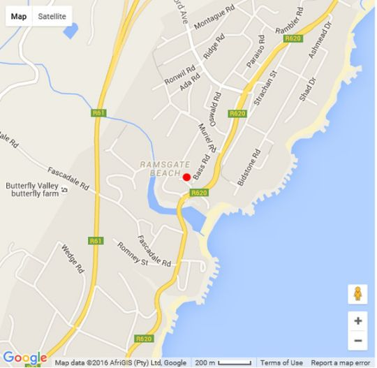 Map Ocean Gaze B&B in Ramsgate  South Coast (KZN)  KwaZulu Natal  South Africa