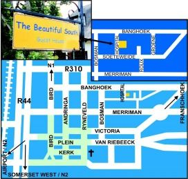 Map Beautiful South Guest House in Stellenbosch  Cape Winelands  Western Cape  Südafrika