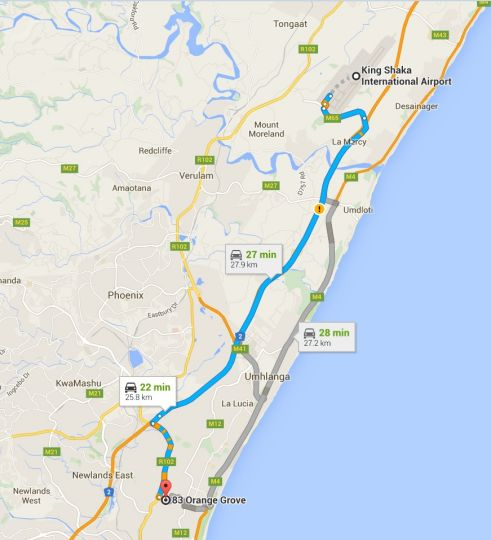 Map Lakibba B&B in Durban North  Northern Suburbs (DBN)  Durban and Surrounds  KwaZulu Natal  South Africa