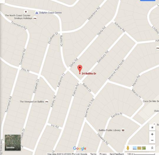 Map Sibakwa Guest House in Ballito  North Coast (KZN)  KwaZulu Natal  South Africa
