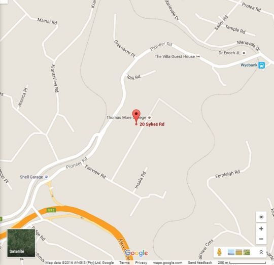 Map Southey House in Kloof  Western Suburbs (DBN)  Durban and Surrounds  KwaZulu Natal  South Africa