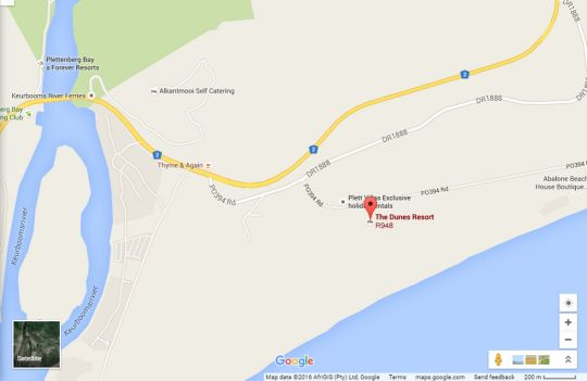 Map 107 The Dunes in Plettenberg Bay  Garden Route  Western Cape  South Africa
