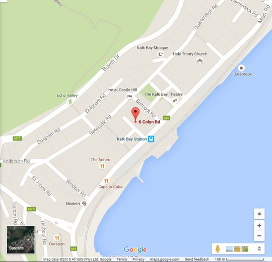Map Kalk Bay Backpackers - LymeHaven in Kalk Bay  False Bay  Cape Town  Western Cape  South Africa