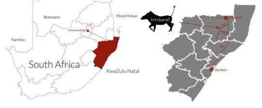 Map Intibane in Hluhluwe  Zululand  KwaZulu Natal  South Africa