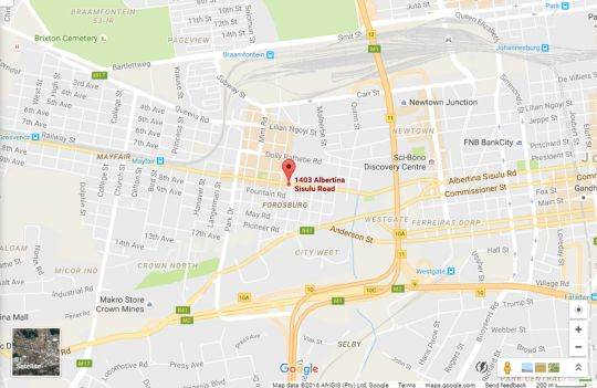 Map Troyeville Hotel in Doornfontein  Johannesburg CBD  Johannesburg  Gauteng  South Africa