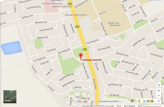 Map Rhodes lodge in Stellenbosch  Cape Winelands  Western Cape  South Africa