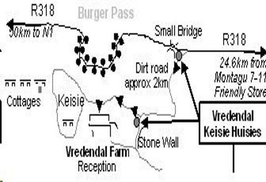 Map Keisie Cottages in Montagu  Breede River Valley  Western Cape  South Africa