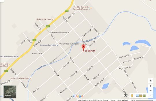 Map Sorgvry House of Guests in Barrydale  Overberg  Western Cape  South Africa