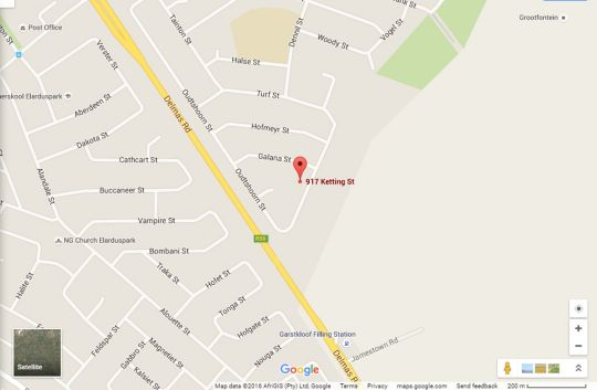 Map Nouveau Studios in Elardus Park  Pretoria East  Pretoria / Tshwane  Gauteng  South Africa
