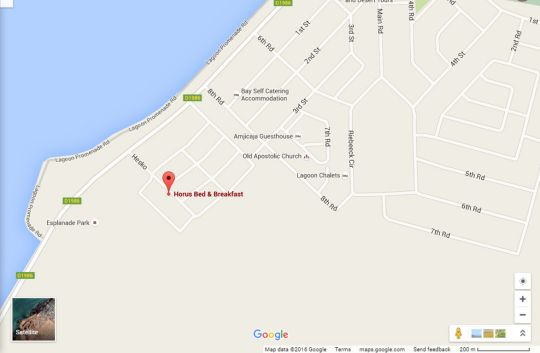 Map Horus Bed and Breakfast in Walvis Bay  Erongo  Namibia