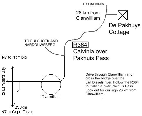 Map Aan De Pakhuys Guest Farm in Clanwilliam  West Coast (WC)  Western Cape  South Africa